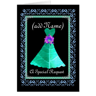 CUSTOM NAME Chief Bridesmaid TEAL GREEN Gown Card