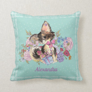 Custom Name Chihuahua Puppy with flowers Cushion