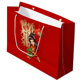 Custom Name Chinese New Year Gift Red Bags Large Gift Bag