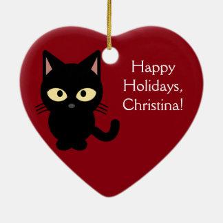 Custom Name Christmas Kitten Ornament