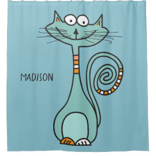 Custom Name Color Funny Cat Shower Curtain