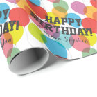 Custom Name Colourful Birthday Balloons Wrapping Paper