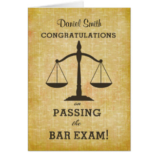 Custom Name Congratulations Passing Bar Exam Card