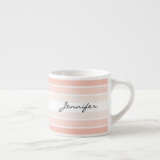 Custom Name Coral Pastel Stripes Espresso Mug