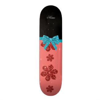 Custom name coral pink glitter flowers bow 20.6 cm skateboard deck