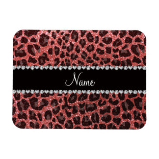 Custom name coral pink glitter leopard print rectangle magnets