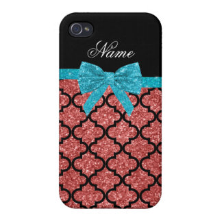 Custom name coral pink glitter moroccan bow iPhone 4 cases