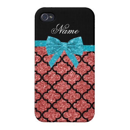 Custom name coral pink glitter moroccan bow iPhone 4/4S cases