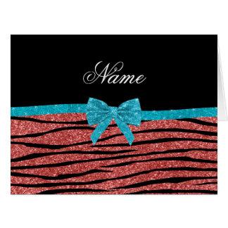 Custom name coral pink glitter zebra stripes bow card