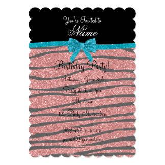 Custom name coral pink glitter zebra stripes bow cards