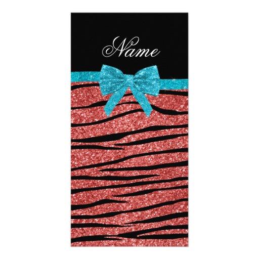 Custom name coral pink glitter zebra stripes bow customized photo card