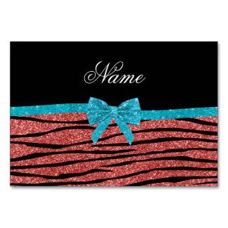 Custom name coral pink glitter zebra stripes bow table cards
