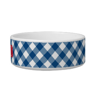 Custom Name Country Blue Gingham Red Label Bowl