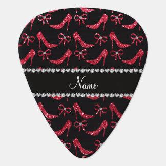 Custom name crimson red glitter high heels bow plectrum