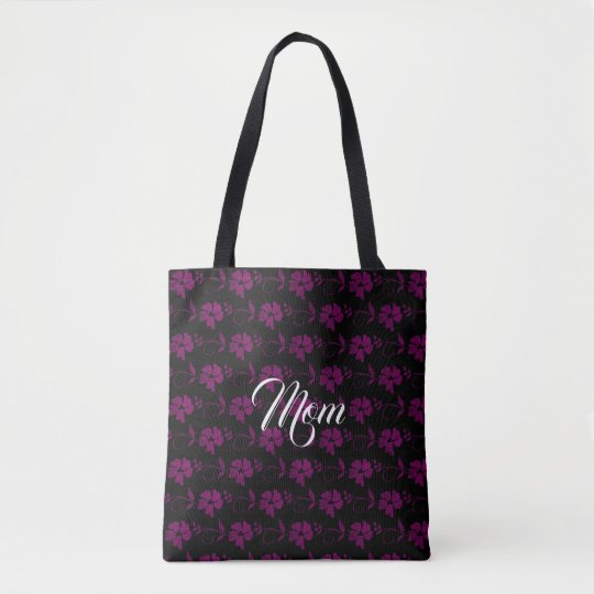 Custom Name Cute Black & Purple Flowers Tote Bag
