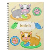 Custom Name Cute Cats Photo Notebook