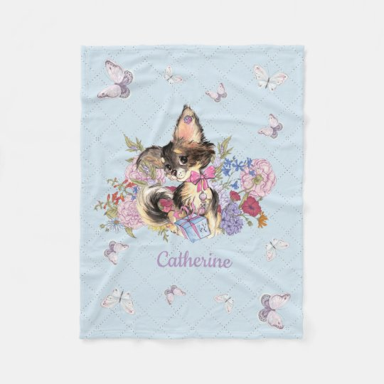 Custom name Cute Chihuahua Puppy Fleece Blanket