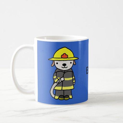 Custom Name Cute Fireman Puppy Dog Mug for Boys