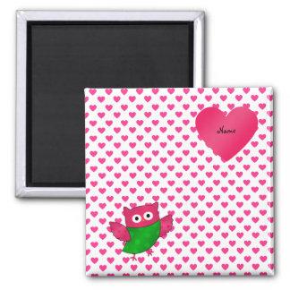 Custom name cute owl pink hearts magnet