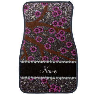 Custom name dark gray glitter cherry blossoms floor mat