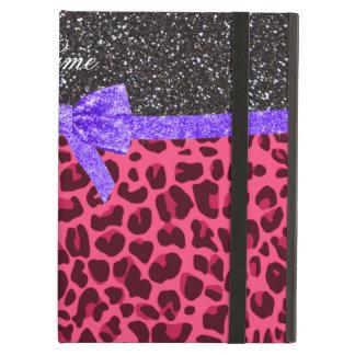 Custom name dark gray glitter pink leopard bow iPad folio case