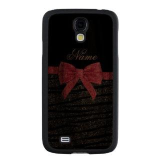 Custom name dark gray glitter zebra stripes bow carved® walnut galaxy s4 case