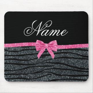 Custom name dark gray glitter zebra stripes bow mouse mat