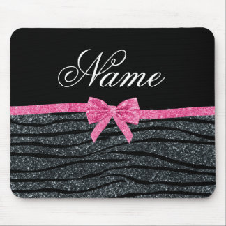 Custom name dark grey glitter zebra stripes bow mouse pad