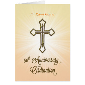 Custom Name, Date, 50th Anniversary of Ordination, Card