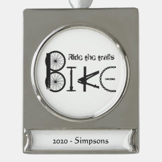 Custom Name date Bike Word from Bicycle Parts Silver Plated Banner Ornament