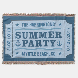 """Custom name, date & location """"Party Ticket"""" throw"""