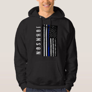 Custom Name Distressed Police Style USA Flag Hoodie