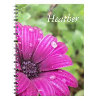 Custom Name Droplets on Purple Daisy Notebooks