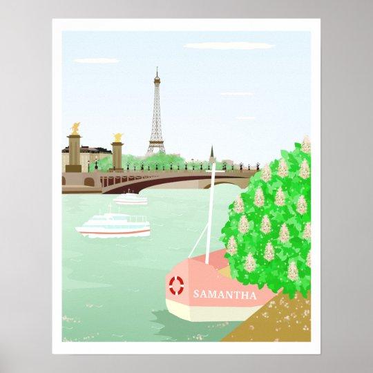 Custom Name Eifel Tower Spring in Paris Poster