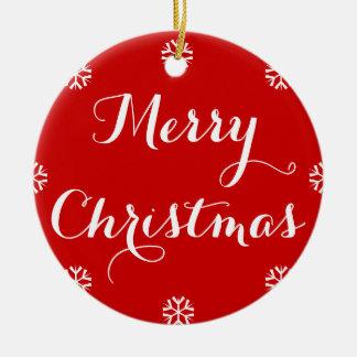 Custom Name Elegant Merry Christmas Red White Snow Christmas Ornament