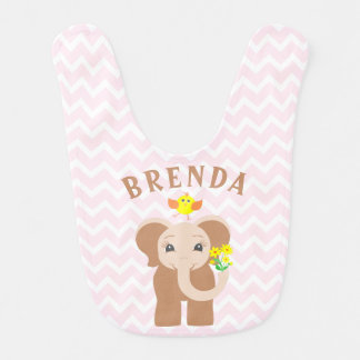 Custom Name Elephant & Bird Pink Chevron Baby Bib