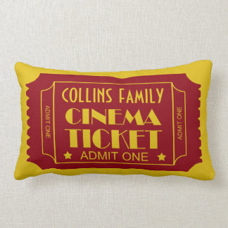 Custom Name Family Cinema Ticket Lumbar Cushion
