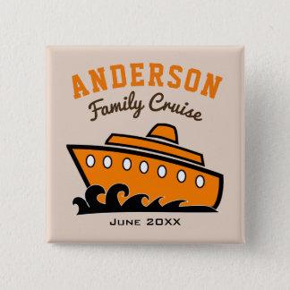 Custom Name Family Cruise Vacation 15 Cm Square Badge