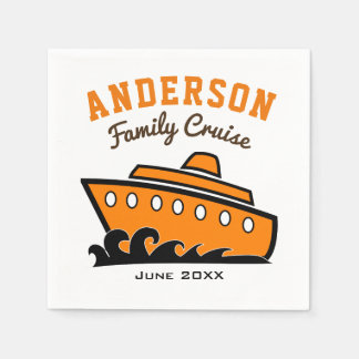 Custom Name Family Cruise Vacation Disposable Serviettes