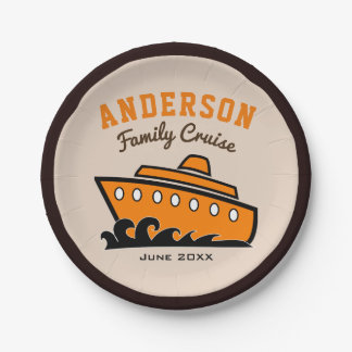 Custom Name Family Cruise Vacation Paper Plate