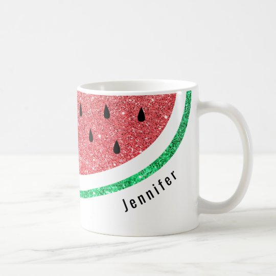 custom name faux glitter watermelon slice coffee mug
