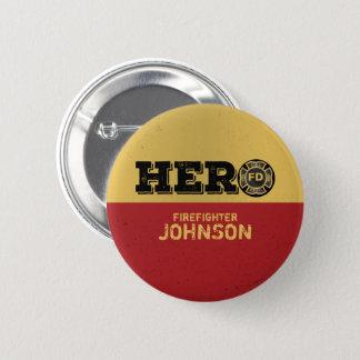 Custom Name, Firefighter Hero 6 Cm Round Badge