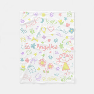 Custom Name Fleece Blanket For Baby Girl, Small