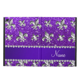 Custom name fleur de lis indigo purple glitter