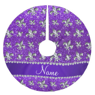 Custom name fleur de lis indigo purple glitter brushed polyester tree skirt