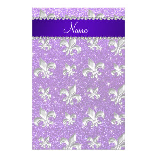 Custom name fleur de lis indigo purple glitter customised stationery