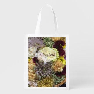 Custom Name Floral Garden Reusable Grocery Bag
