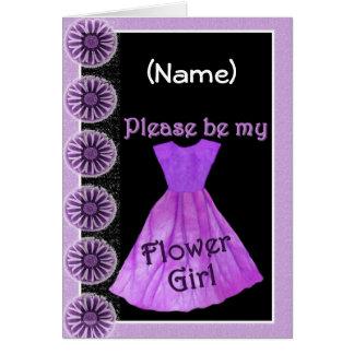 CUSTOM NAME Flower Girl Invitation PURPLE Dress Greeting Card