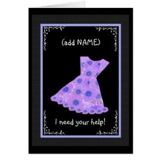 CUSTOM NAME Flower Girl PURPLE Dress Card