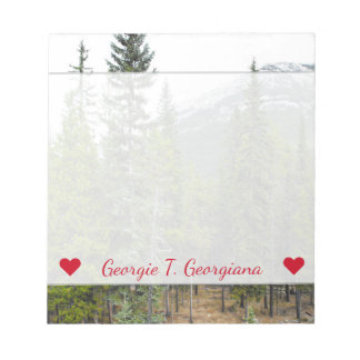 Custom Name + Forest and Mountain Scene Notepad